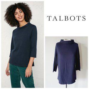 TALBOTS Mock Neck Cotton Sweater